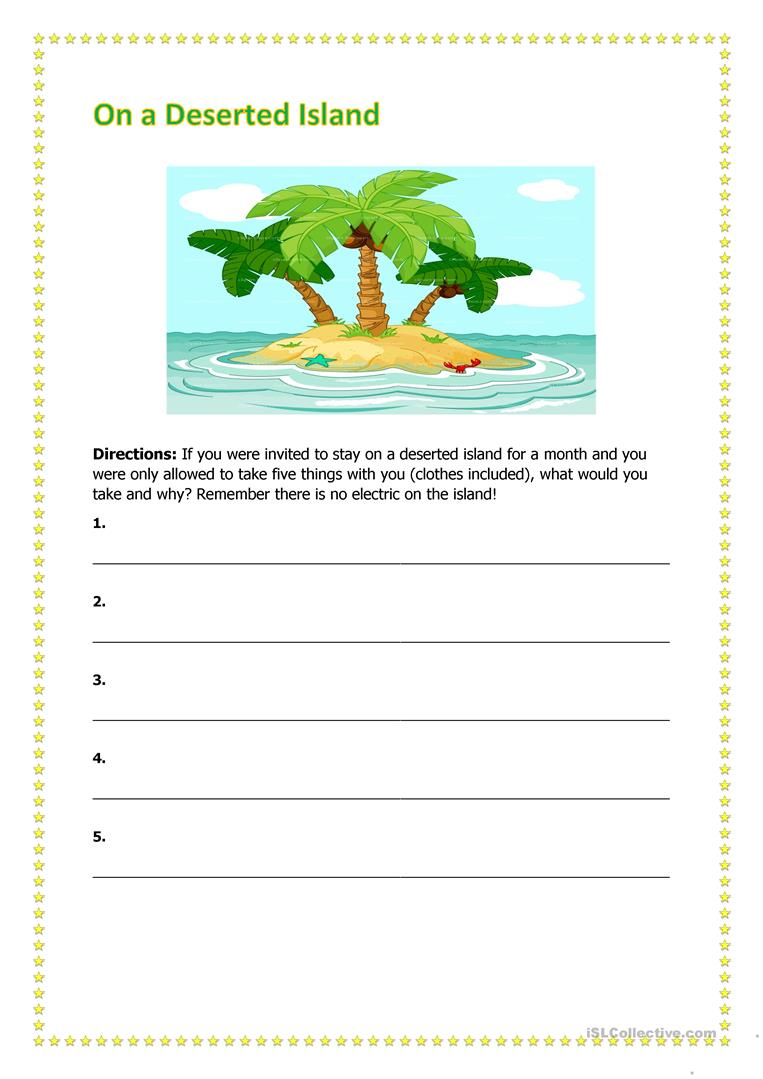 On a Deserted Island - English ESL Worksheets
