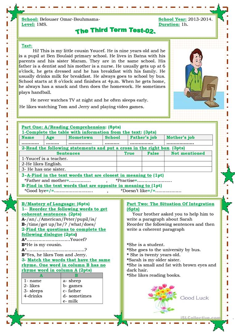 the third term second test - English ESL Worksheets