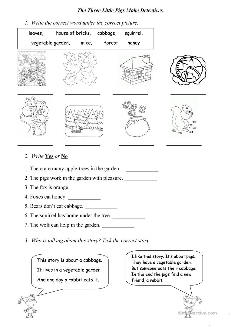 image about Three Little Pigs Printable identify The A few Very little Pigs Create Detectives - English ESL Worksheets
