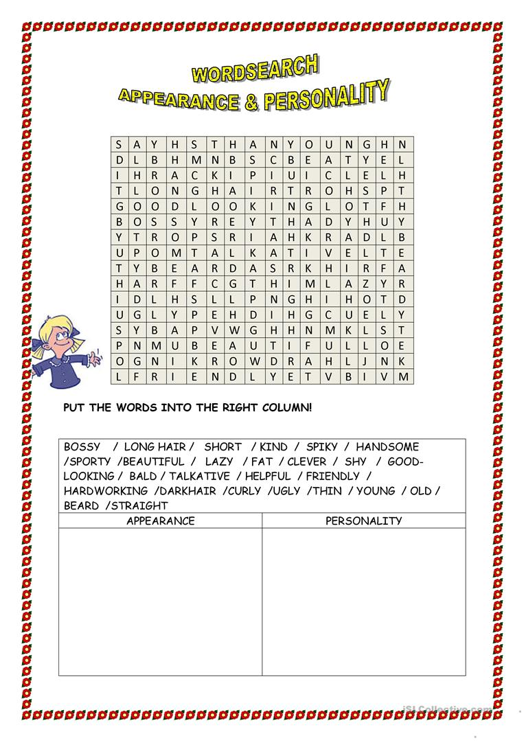 word search appearance personality worksheet free esl printable
