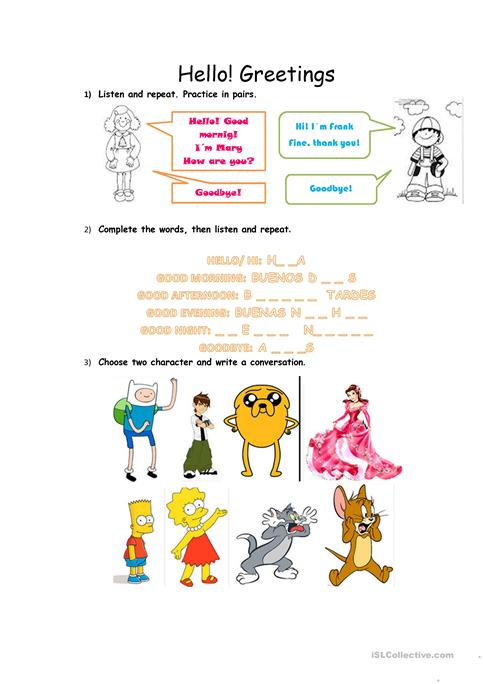Greeting Conversation Worksheet Free Esl Printable Worksheets