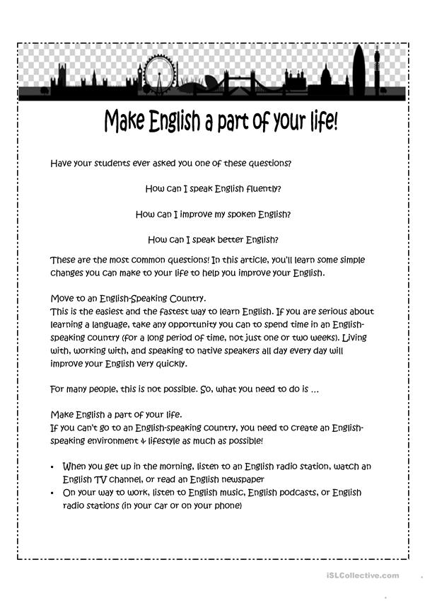 Make English a part of your life!