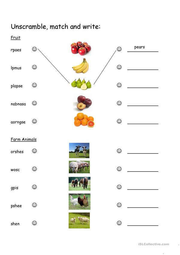 Unscramble the fruits and farm animals