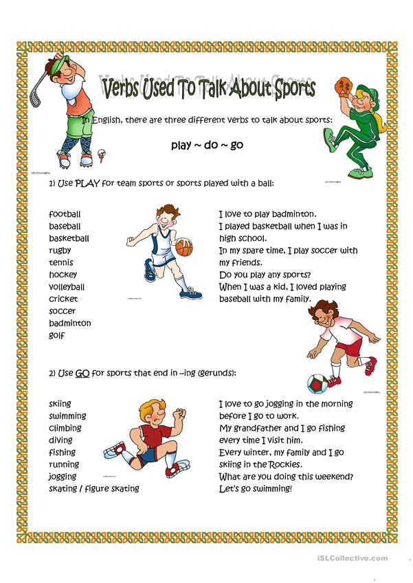Verbs  used to talk about sport