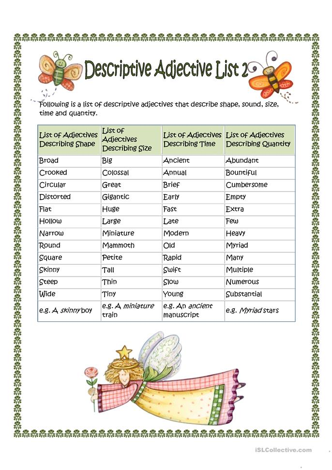 adjectives that start with w to describe a person descriptive adjective list 2 worksheet free esl 20048