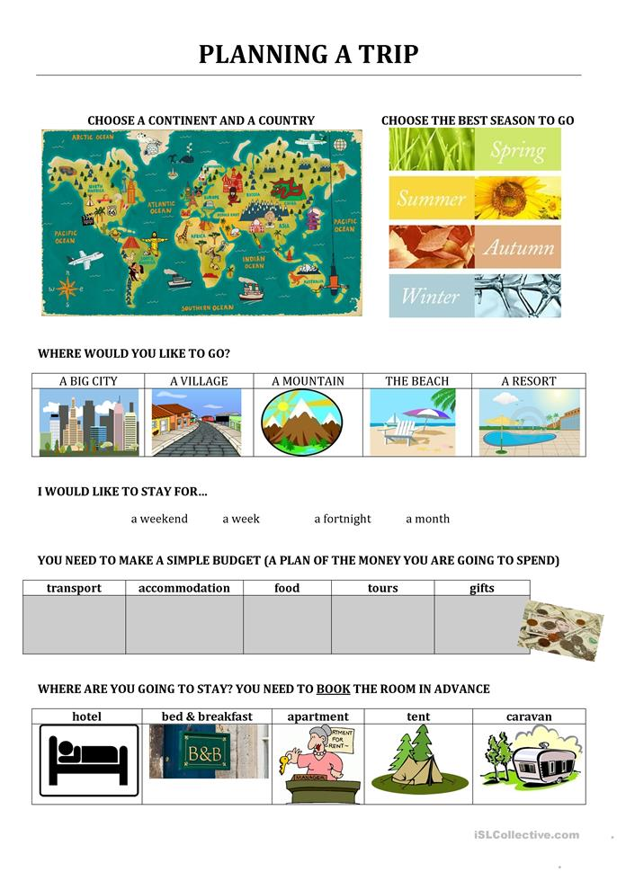 Planning a trip - ESL worksheets