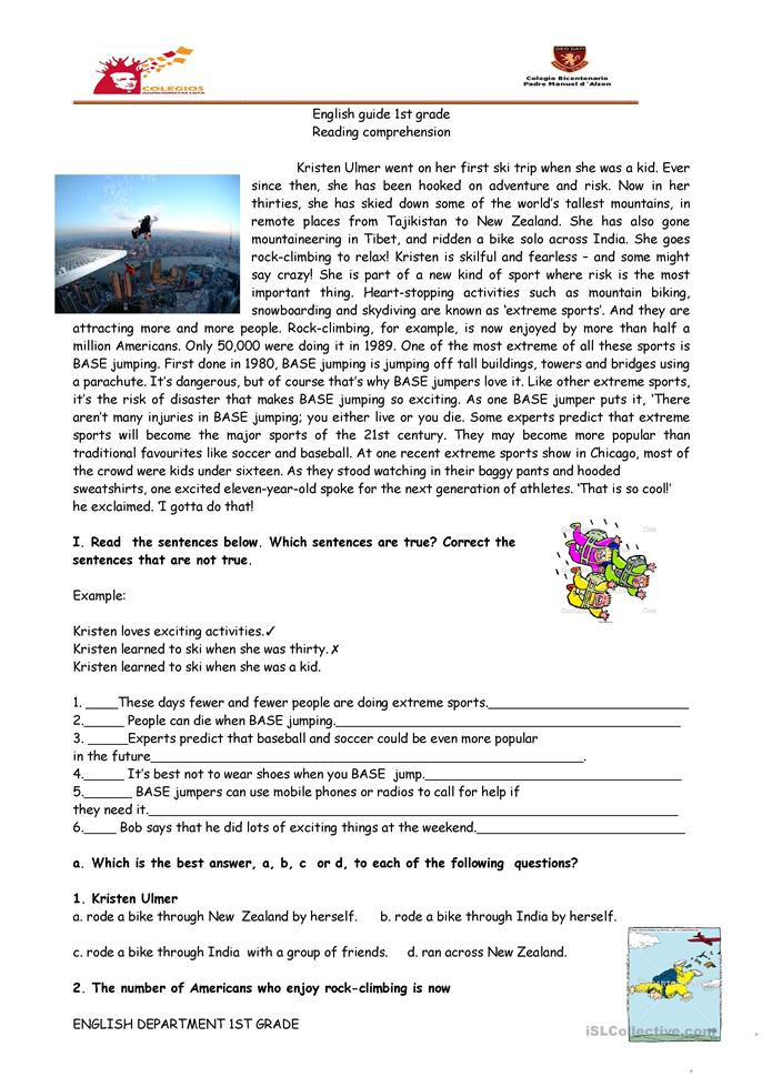 reading comprehension sports base jumping worksheet free esl printable worksheets made by. Black Bedroom Furniture Sets. Home Design Ideas