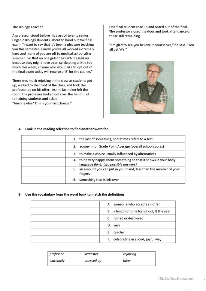 Printables Biology Reading Comprehension Worksheets reading comprehension the biology teacher worksheet free esl printable worksheets made by teachers