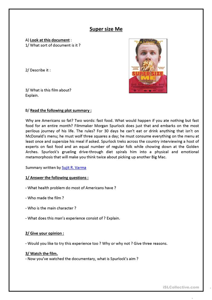 Supersize me worksheet - Free ESL printable worksheets made by ...