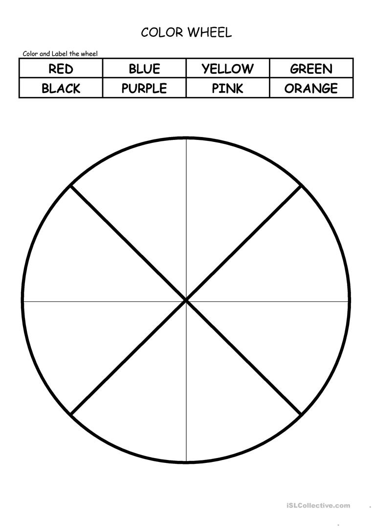 image regarding Printable Color Wheel Worksheet referred to as Colour WHEEL - English ESL Worksheets