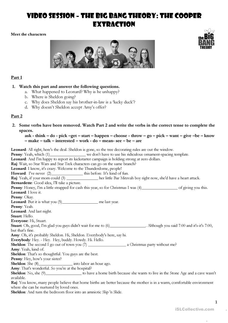 Worksheets Auditory Comprehension Worksheets 92 free esl listening comprehension worksheets introduction to conditionals with the big bang theory