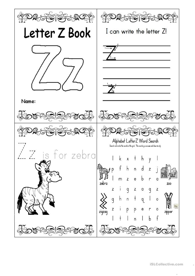 Letter Z Booklet English Esl Worksheets For Distance Learning And Physical Classrooms