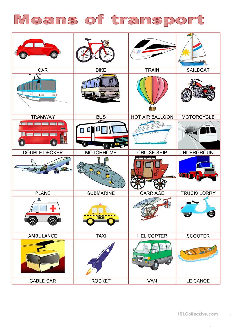 Picture dictionary - MEANS OF TRANSPORT - English ESL Worksheets
