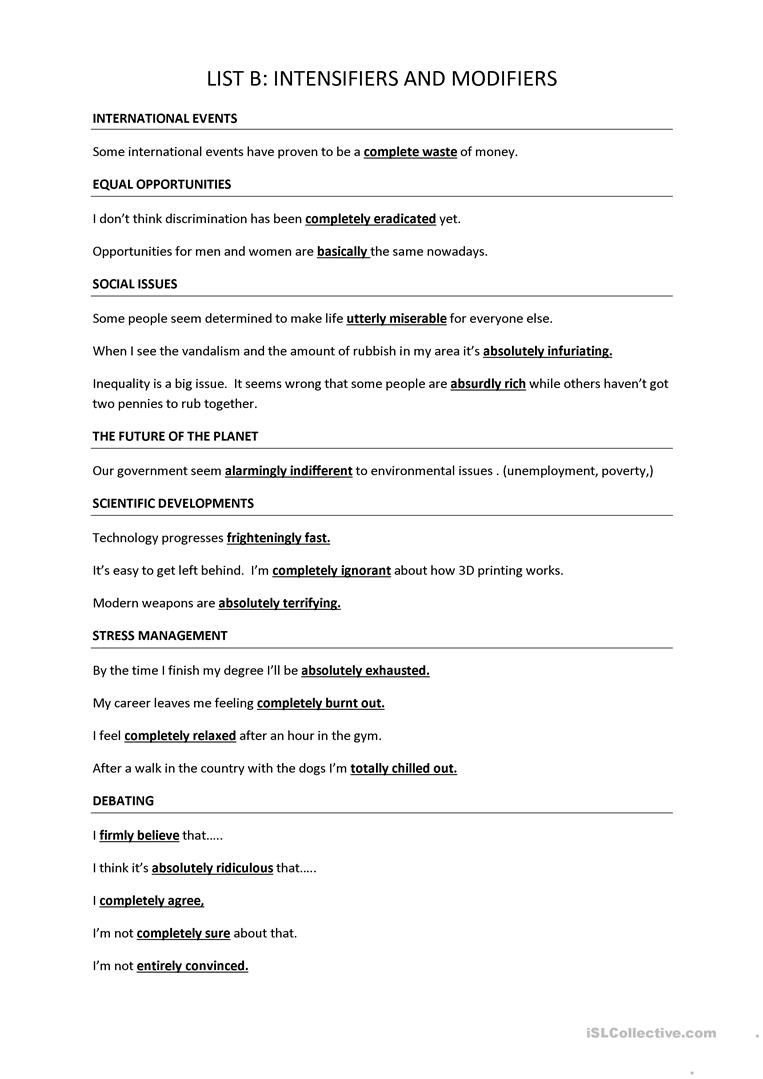 Trinity GESE Grade 10: Intensifiers worksheet - Free ESL printable