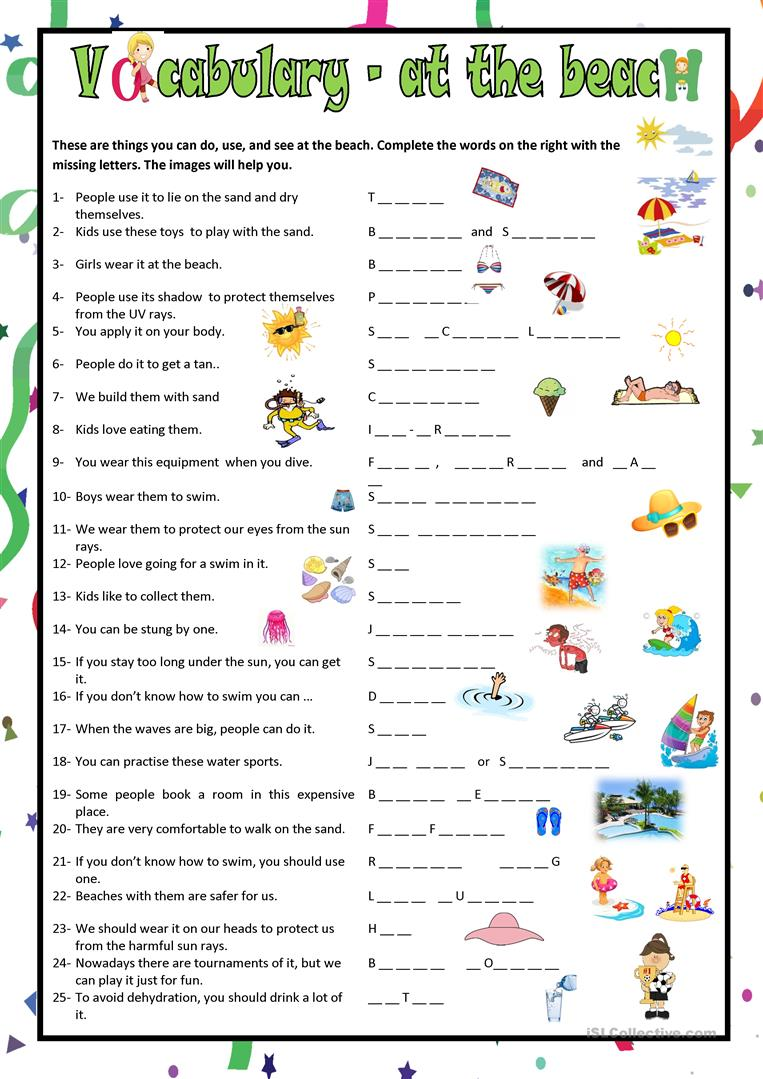 Vocabulary - At the Beach worksheet - Free ESL printable worksheets ...
