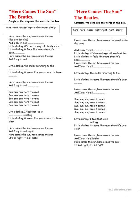 Here Comes The Sun. worksheet - Free ESL printable worksheets made ...