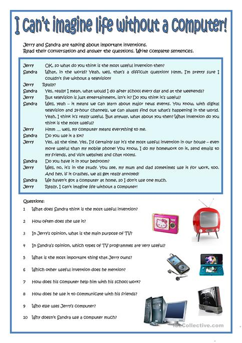 I CAN\'T IMAGINE MY LIFE WITHOUT A COMPUTER! worksheet - Free ESL ...