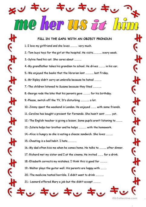 OBJECT PRONOUNS worksheet - Free ESL printable worksheets made by ...