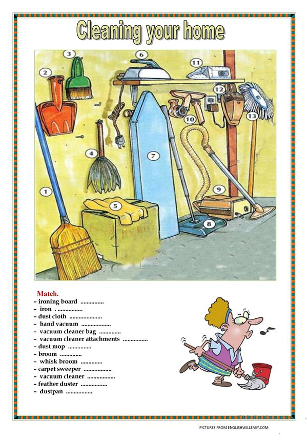 Cleaning your home. (with key) 3pages.