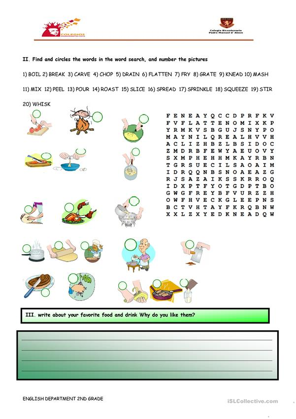 Cooking instructions and verbs