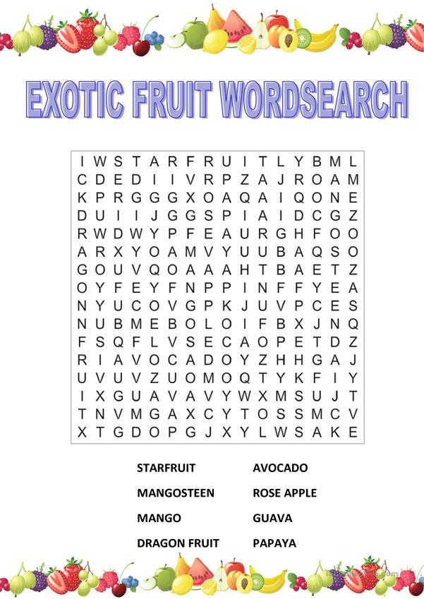 Exotic Fruit Wordsearch
