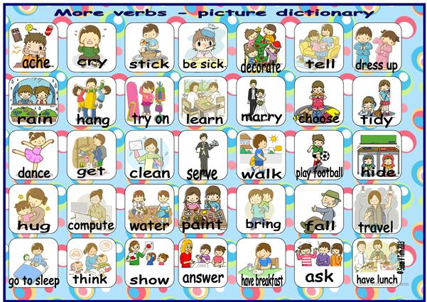 More verbs - picture dictionary * with 35 pics