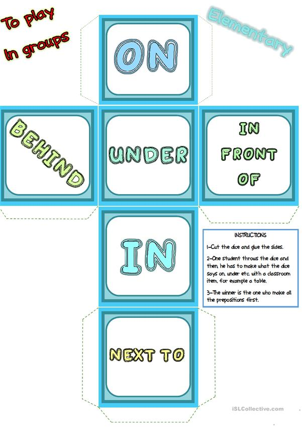 Prepositions of place - words DICE