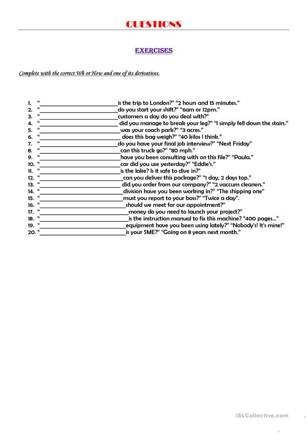 Questions exercises
