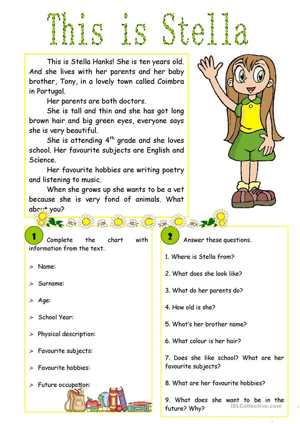 This is Stella!  - reading comprehension