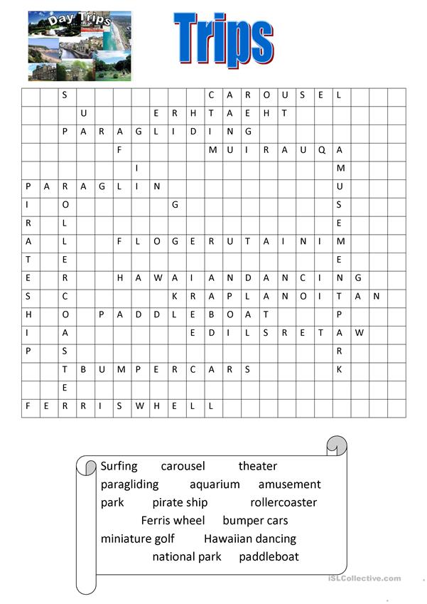 trips/tourism wordsearch