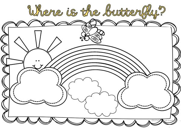Where is the butterfly? on or over