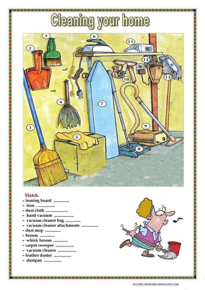 cleaning your home   with key  3pages  worksheet