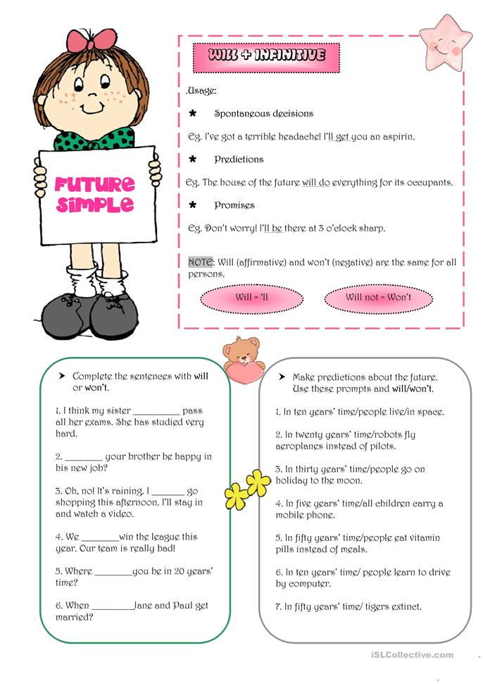75 FREE ESL Future simple tense expressed with WILL worksheets