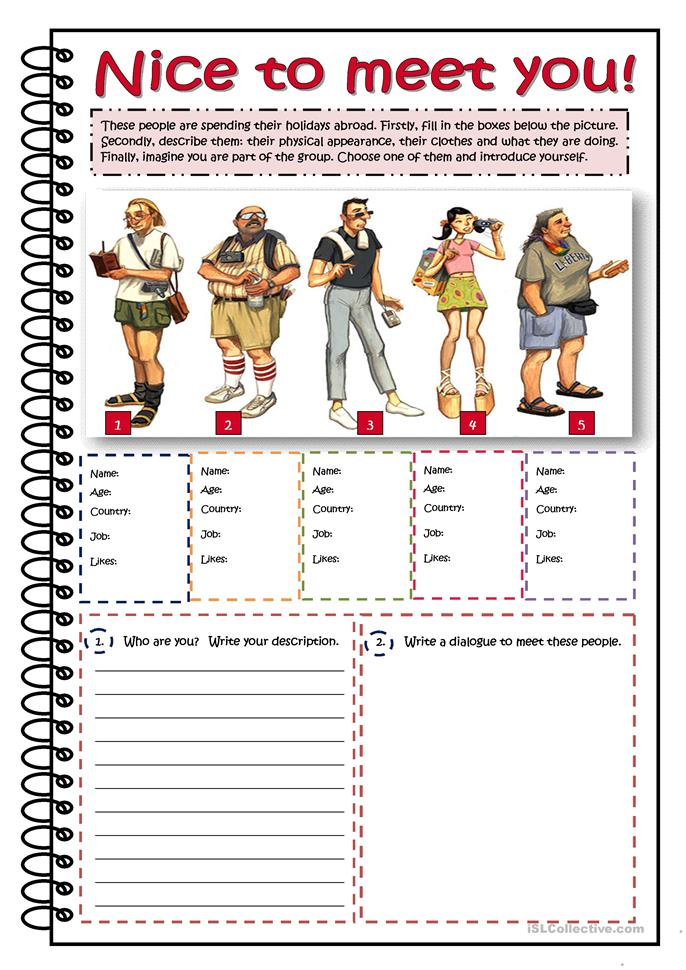 nice to meet you - describing people worksheet