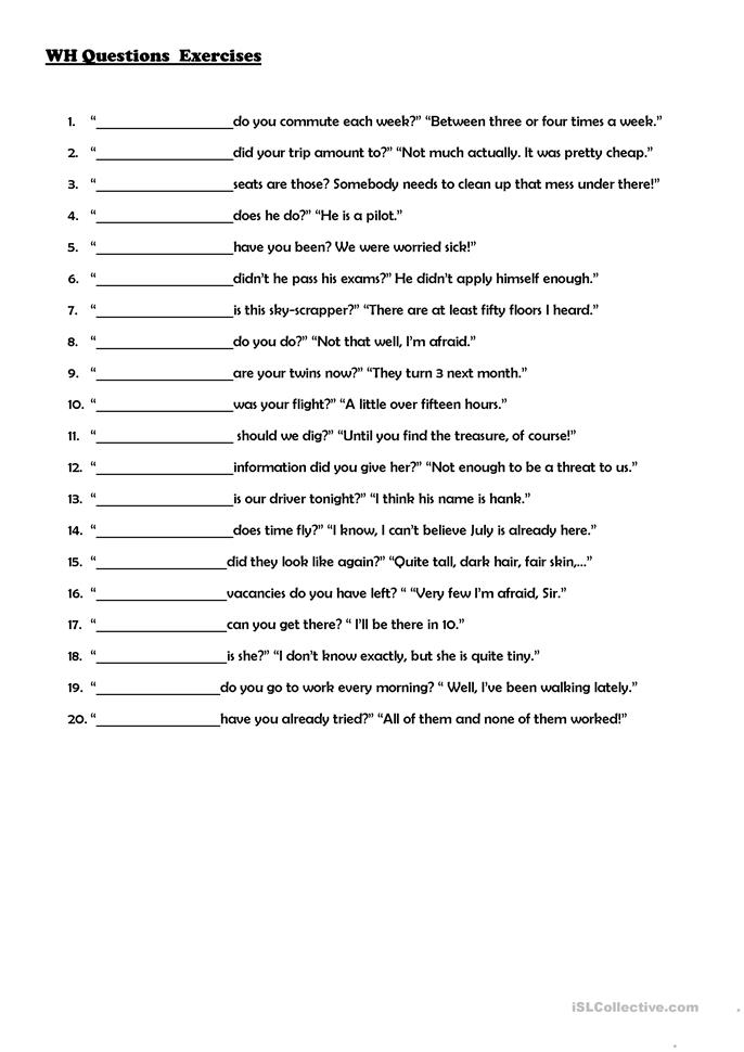 Wh Questions Exercises Worksheet Free Esl Printable