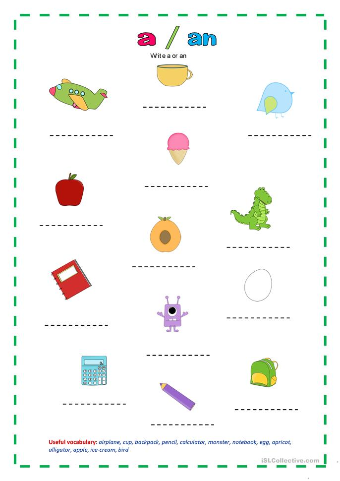 Worksheets A Or An Worksheet aan worksheet free esl printable worksheets made by teachers write a or an