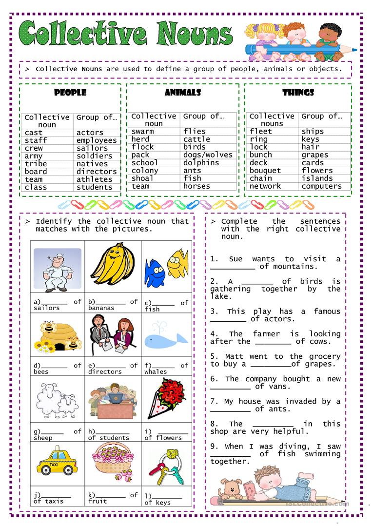 Worksheets Collective Noun Worksheet 25 free esl collective nouns worksheets nouns