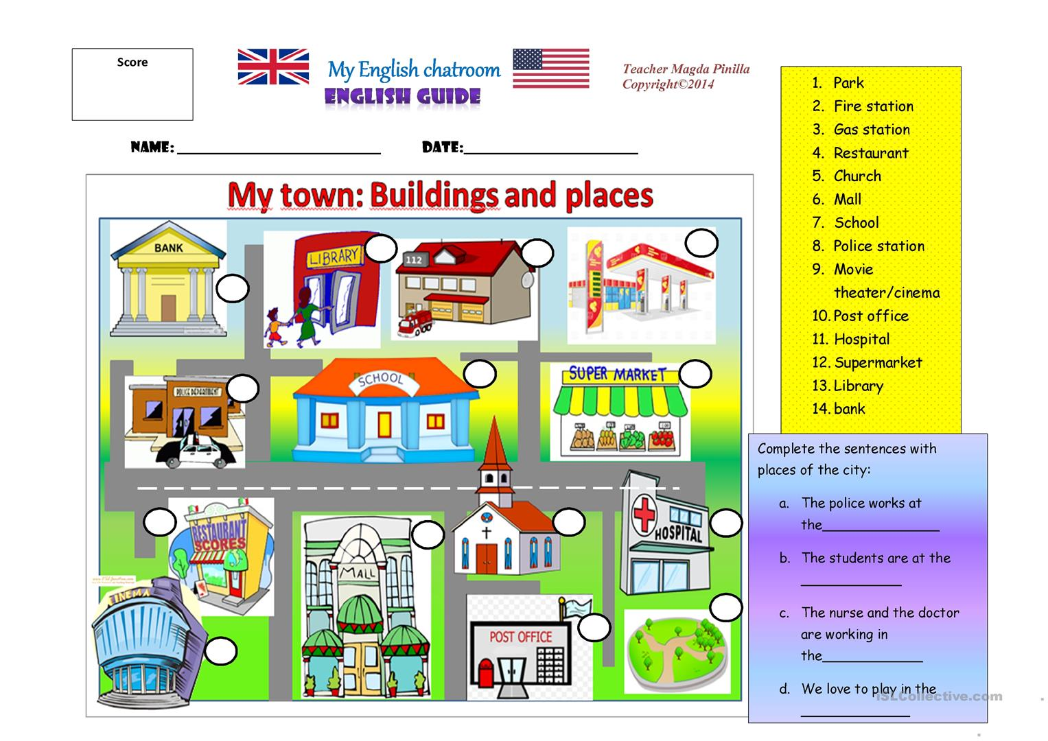 my town places and buildings worksheet free esl printable worksheets made by teachers. Black Bedroom Furniture Sets. Home Design Ideas