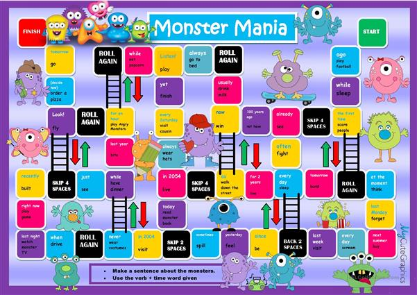 All Tenses  Boardgame (Monster Theme)