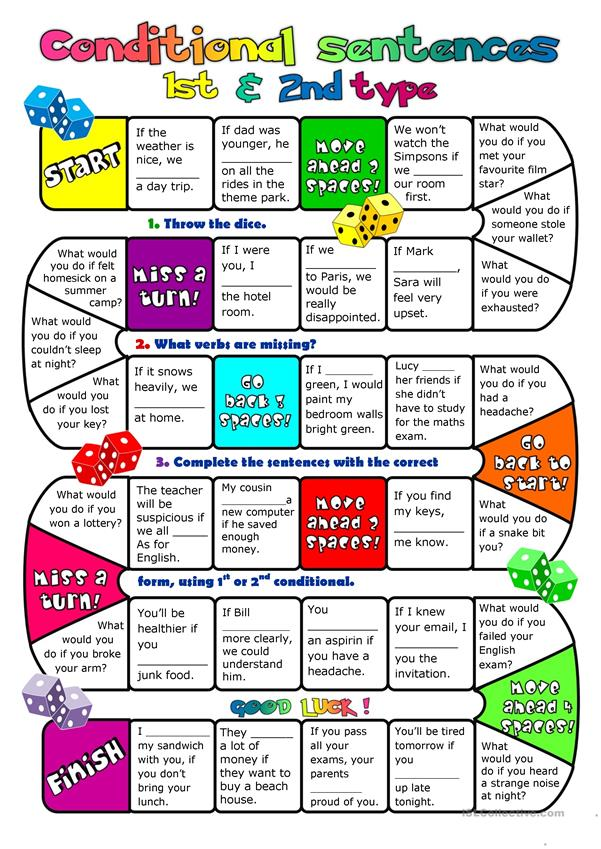 Conditional sentences - type 1&2 - boardgame