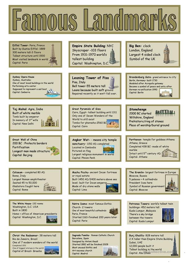 21 Famous Landmarks Speaking Cards