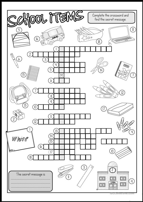 School Items CROSSWORD (B&W and Key Included)