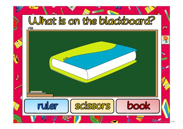What is on the blackboard?