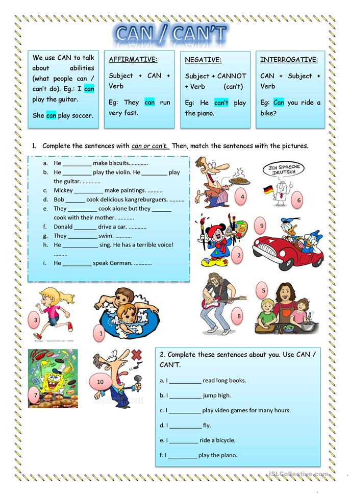 Can / Can't Abilities - ESL worksheets