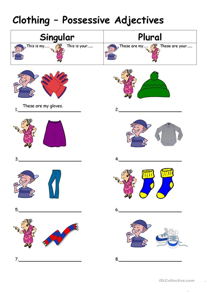 Clothing - Possessive Adjectives worksheet - Free ESL printable ...