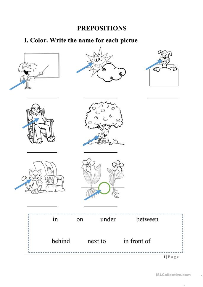 Printables. Preposition Kindergarten Worksheets. Gozoneguide ...