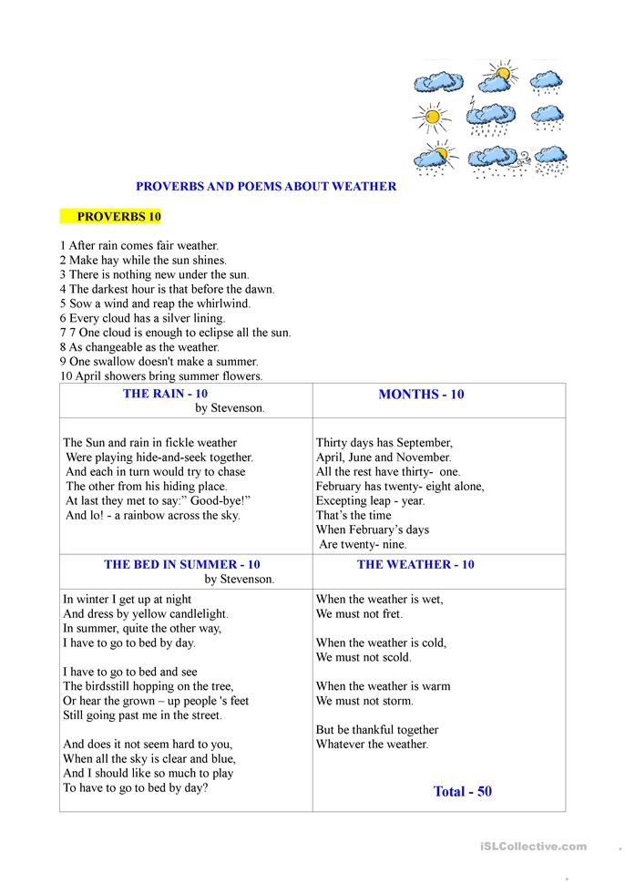 Proverbs and songs about the weather - ESL worksheets