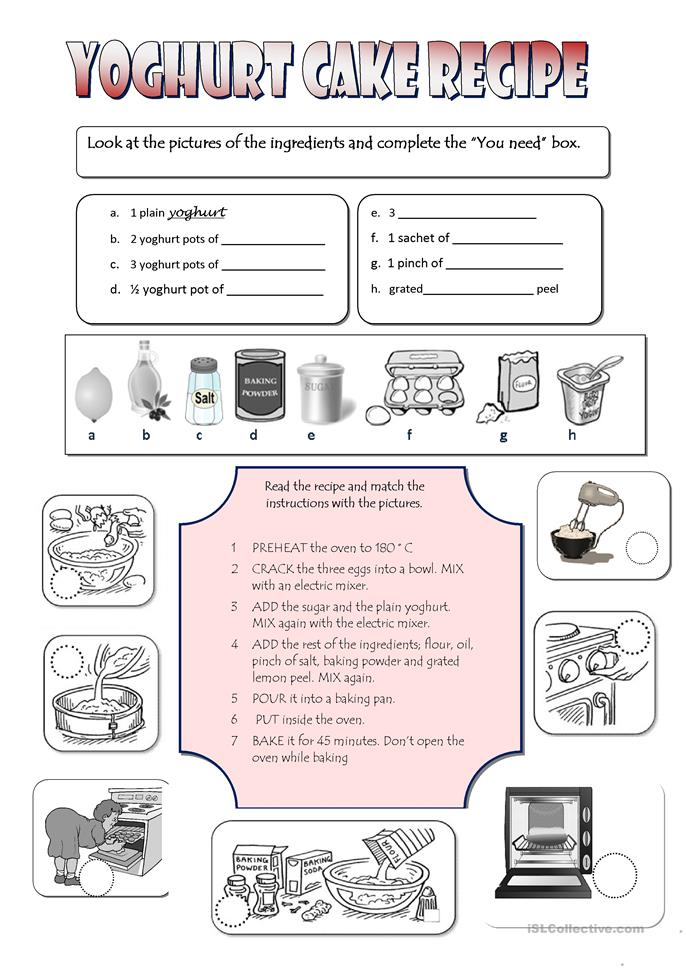 Worksheet Parts Of A Recipe : All worksheets cooking printable