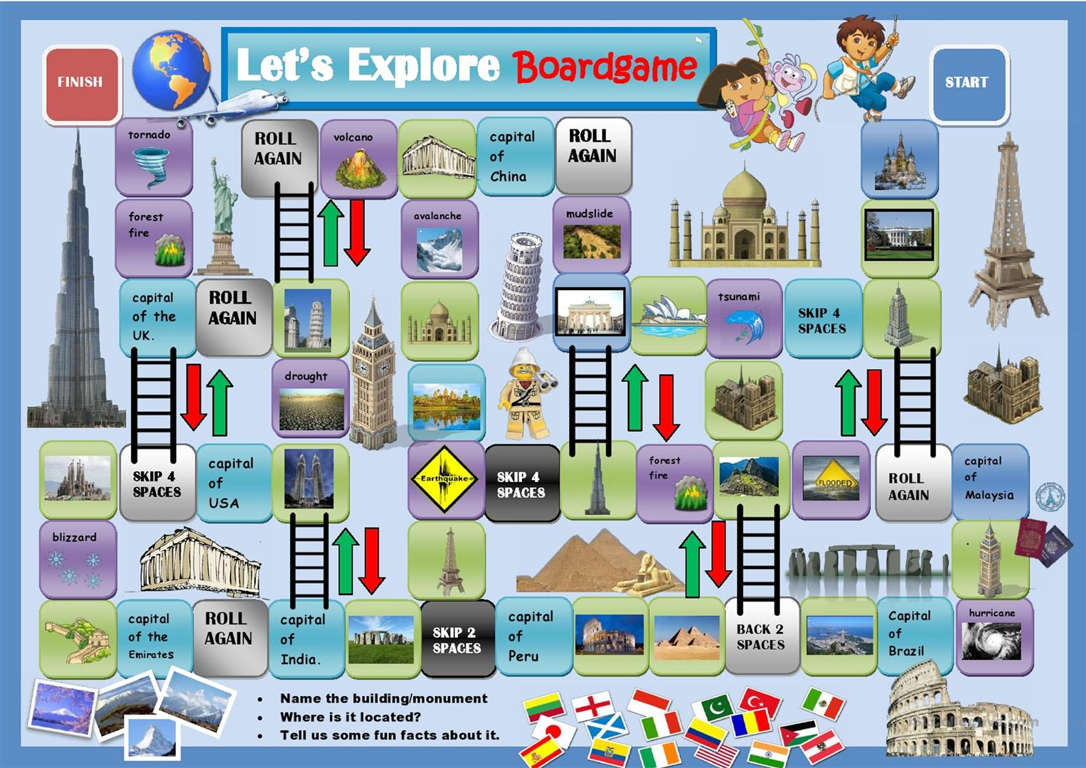 52 free esl geography worksheets around the world boardgame gumiabroncs Gallery