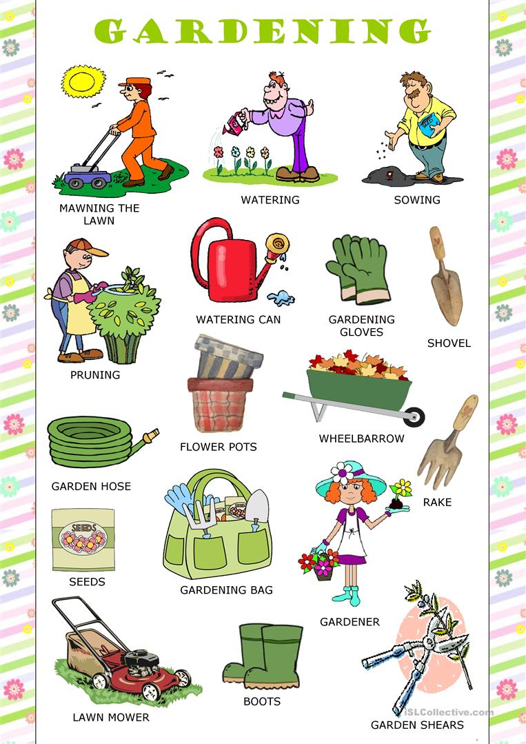 Gardening worksheet free esl printable worksheets made for Gardening tools dictionary